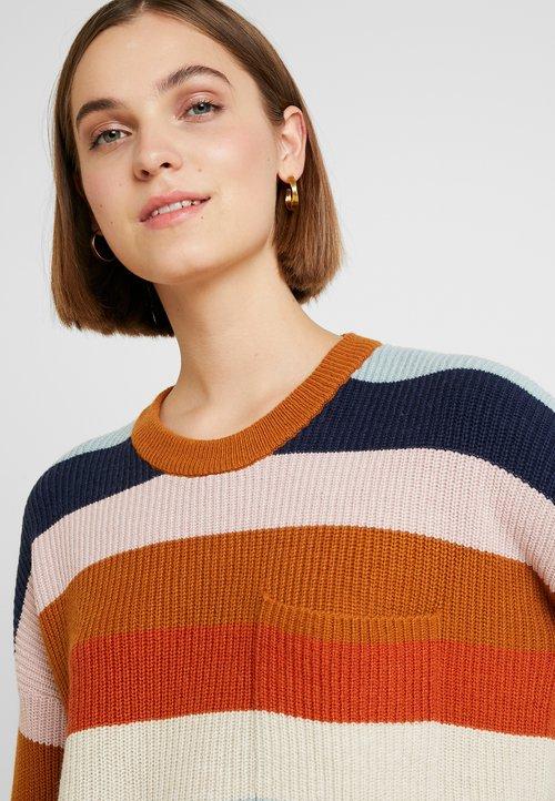 dobrze rozwinięty Madewell PATCH POCKET STRIPE - Sweter - heather fawn/multi Odzież Damska XPES-TM4