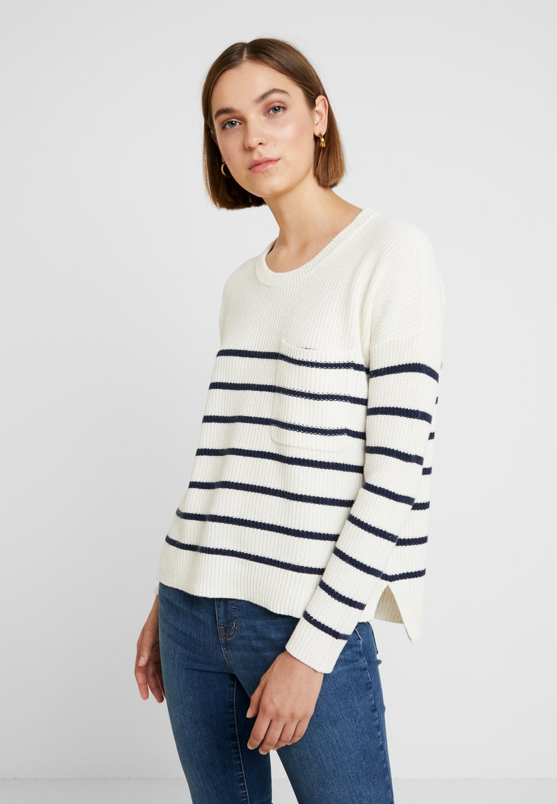 Madewell - BIRCH PATCH POCKET PULLOVER NAUTICAL STRIPE - Strickpullover - pearl ivory