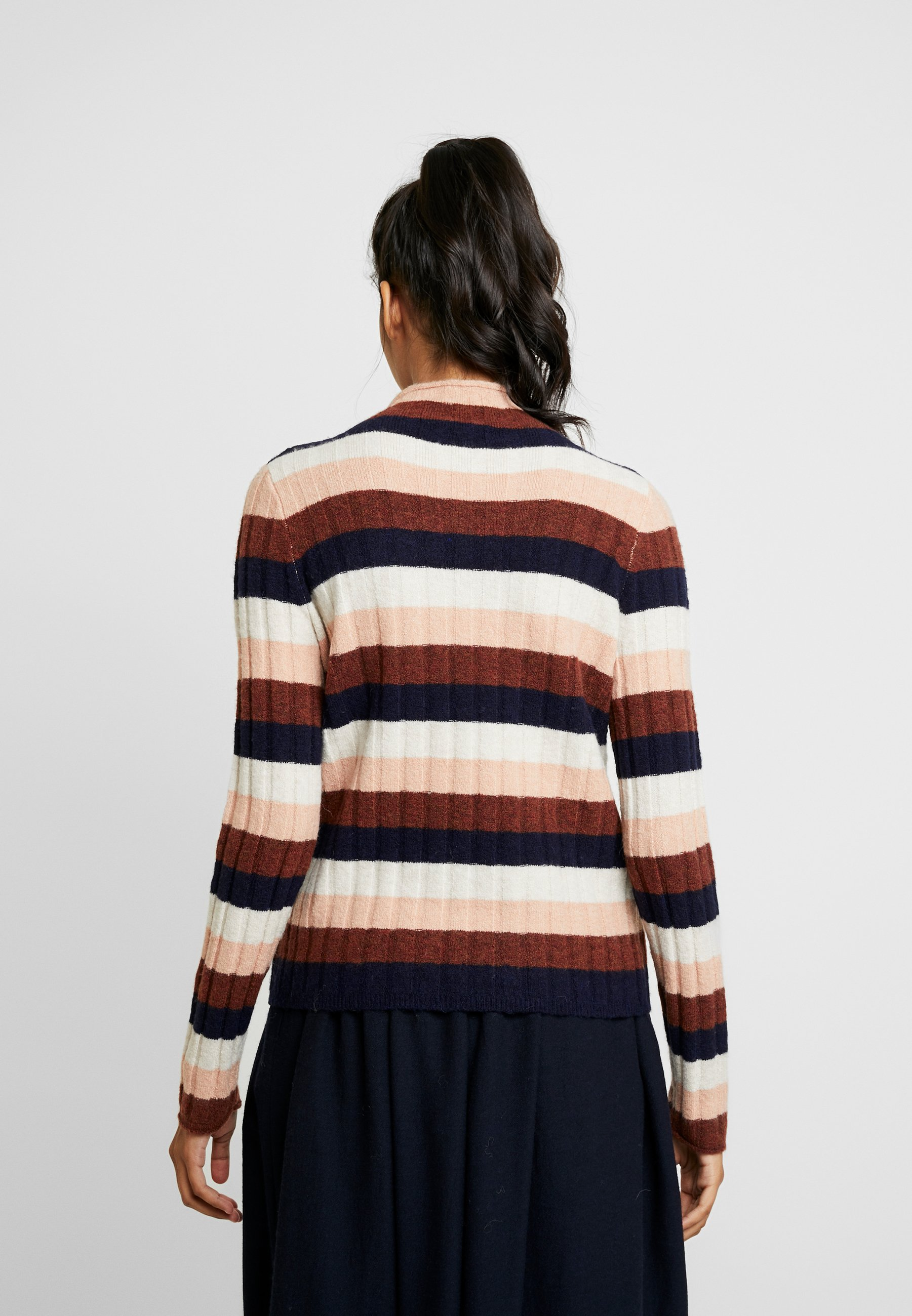 Madewell STRIPE IAN INLAND TURTLENECK - Sweter - heather quinoa cream/pink/brown/navy