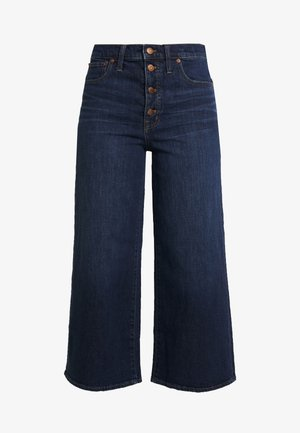 BUTTON FRONT WIDE LEG CROP - Jeansy Dzwony - hayes wash
