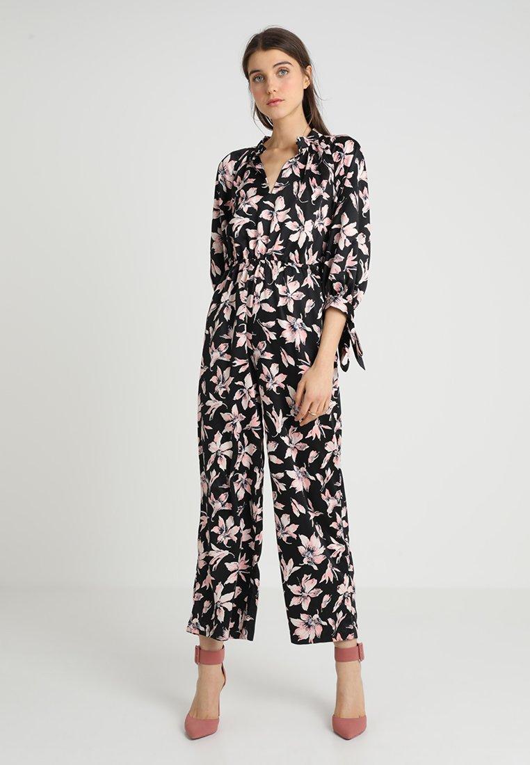 Madewell - TIE SLEEVE FLORAL PRINT - Jumpsuit - brigette true black