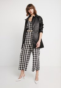 Madewell - SHIRRED CAMI IN GINGHAM - Combinaison - true black - 1