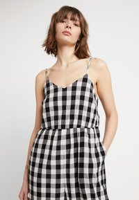 Madewell - SHIRRED CAMI IN GINGHAM - Combinaison - true black - 3