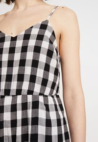 Madewell - SHIRRED CAMI IN GINGHAM - Combinaison - true black - 5