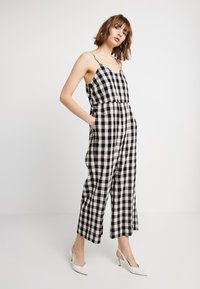 Madewell - SHIRRED CAMI IN GINGHAM - Combinaison - true black - 0
