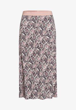 MIT DUNKLEM SCHLANGENPRINT - A-line skirt - dark olive
