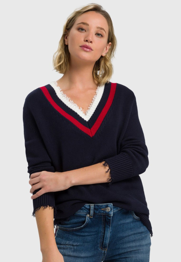Marc Aurel - MIT STREIFENBLENDE - Strickpullover - dark blue varied