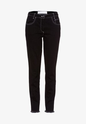 MIT DRUCKBAND - Straight leg jeans - black denim