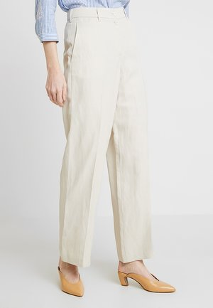 PANTS WIDE LEG DOUBLE BUTTON FRENCH POCKETS - Broek - pebble stone