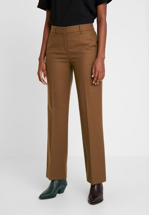 PANTS SLIGHTLY TAPERED FIT - Trousers - dark camel