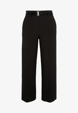PANTS HIGH WAISTED WIDE LEG  - Trousers - pure black