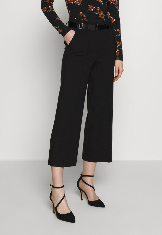 PANTS HIGH WAISTED WIDE LEG  - Pantalones - pure black