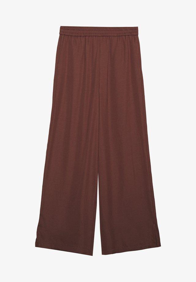 MIJA PANTS ELASTIC WAISTBAND WIDE LEG - Trousers - dark chocolate