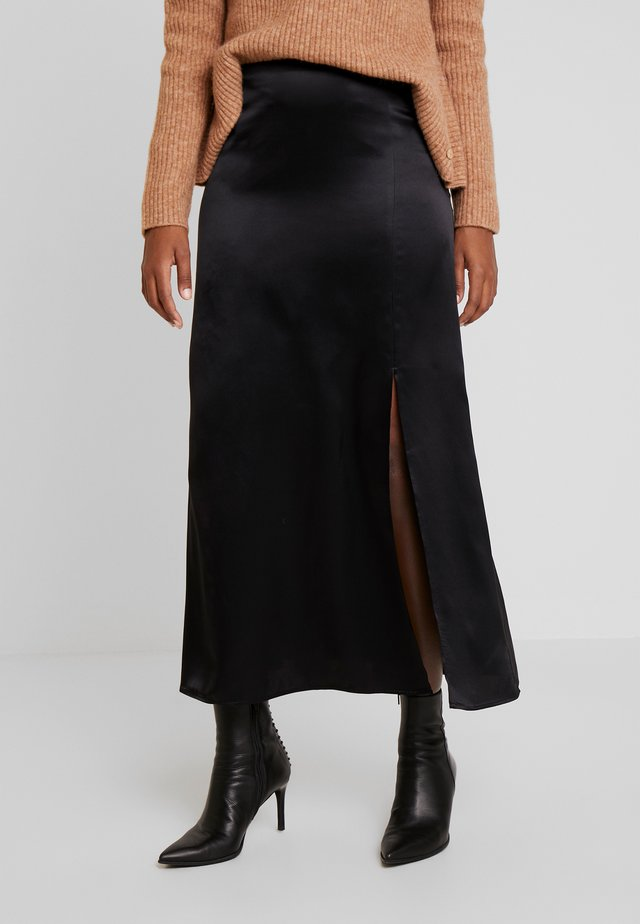 SKIRT SLIT DETA - A-linjainen hame - pure black