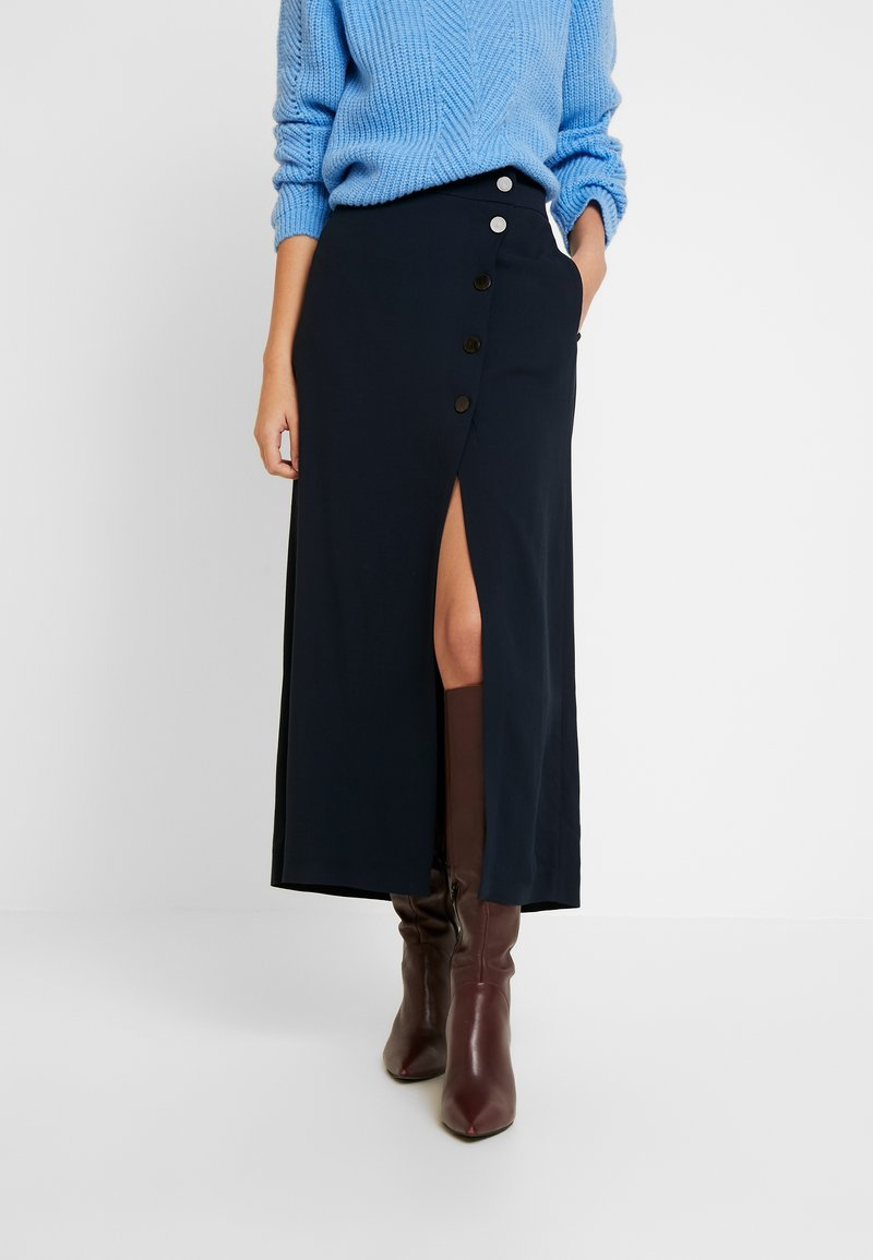 Marc O'Polo PURE - SKIRT LONG BUTTONS SIDE SLIT - Jupe portefeuille - pure navy