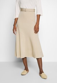 Marc O'Polo PURE - JERSEY CREPE SKIRT, WIDE A-SHAPE, MIDI LENGTH, INSERT CUTLINES,  - A-snit nederdel/ A-formede nederdele - warm sand - 0