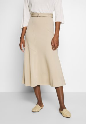 JERSEY CREPE SKIRT, WIDE A-SHAPE, MIDI LENGTH, INSERT CUTLINES,  - Gonna a campana - warm sand