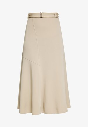 JERSEY CREPE SKIRT, WIDE A-SHAPE, MIDI LENGTH, INSERT CUTLINES,  - A-line skirt - warm sand