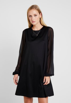 DRESS LONG SLEEVE STRAP DETAIL - Jerseykjole - pure black
