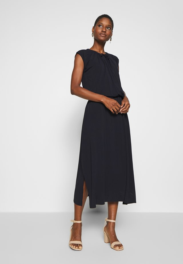 WRAP DRESS DRAWSTRINGS SLITS - Jerseyjurk - pure navy