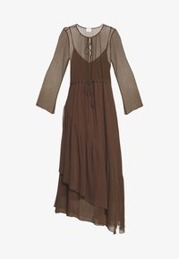 Marc O'Polo PURE - MIJA DRESS LONG AND WIDE SLEEVES ROUND NECK WITH SLIT - Robe d'été - dark chocolate - 3
