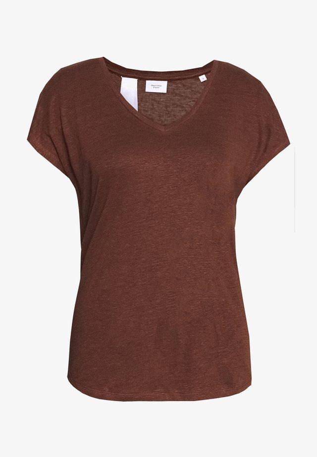 MIJA  V NECK CUT ON SLEEVE ROUNDED - T-shirts basic - dark chocolate