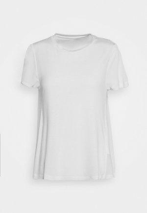 CREW NECK SHEER SHORT SLEEVE SLIT AT BACK WITH SHEER  - Basic T-shirt - clear white