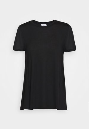 CREW NECK SHEER SHORT SLEEVE SLIT AT BACK WITH SHEER  - T-shirt basic - pure black