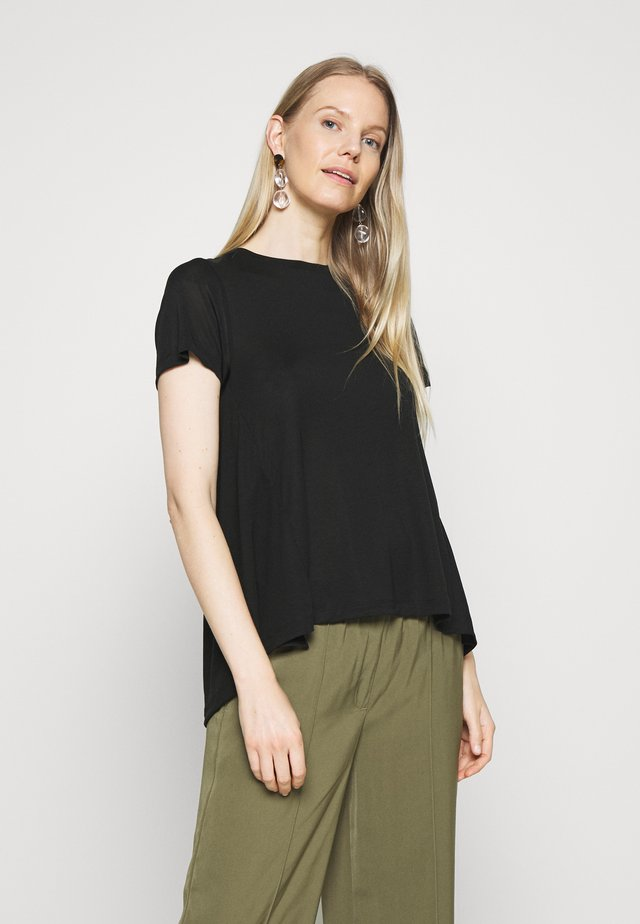 CREW NECK SHEER SHORT SLEEVE SLIT AT BACK WITH SHEER  - T-shirts basic - pure black