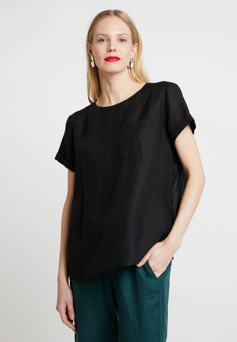Marc O'Polo PURE - BLOUSE STYLE ROUND NECK - Blouse - black