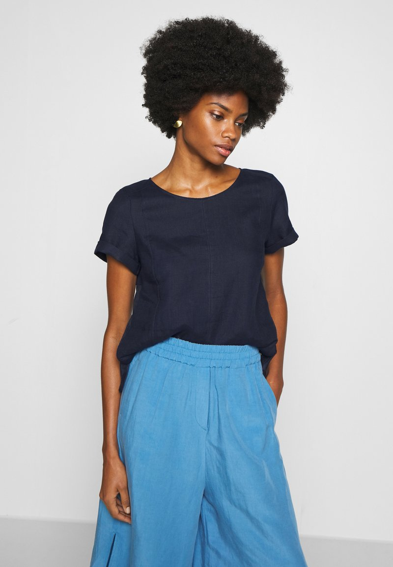 Marc O'Polo PURE - SHORT SLEEVE LOOSE FIT HYBRID STYLE - Blusa - pure navy
