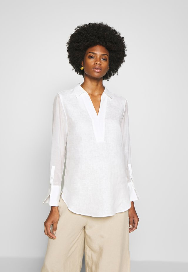 BLOUSE LONG SLEEVE REGULAR FIT A-SHAPE HYBRID STYLE - Blouse - clear white