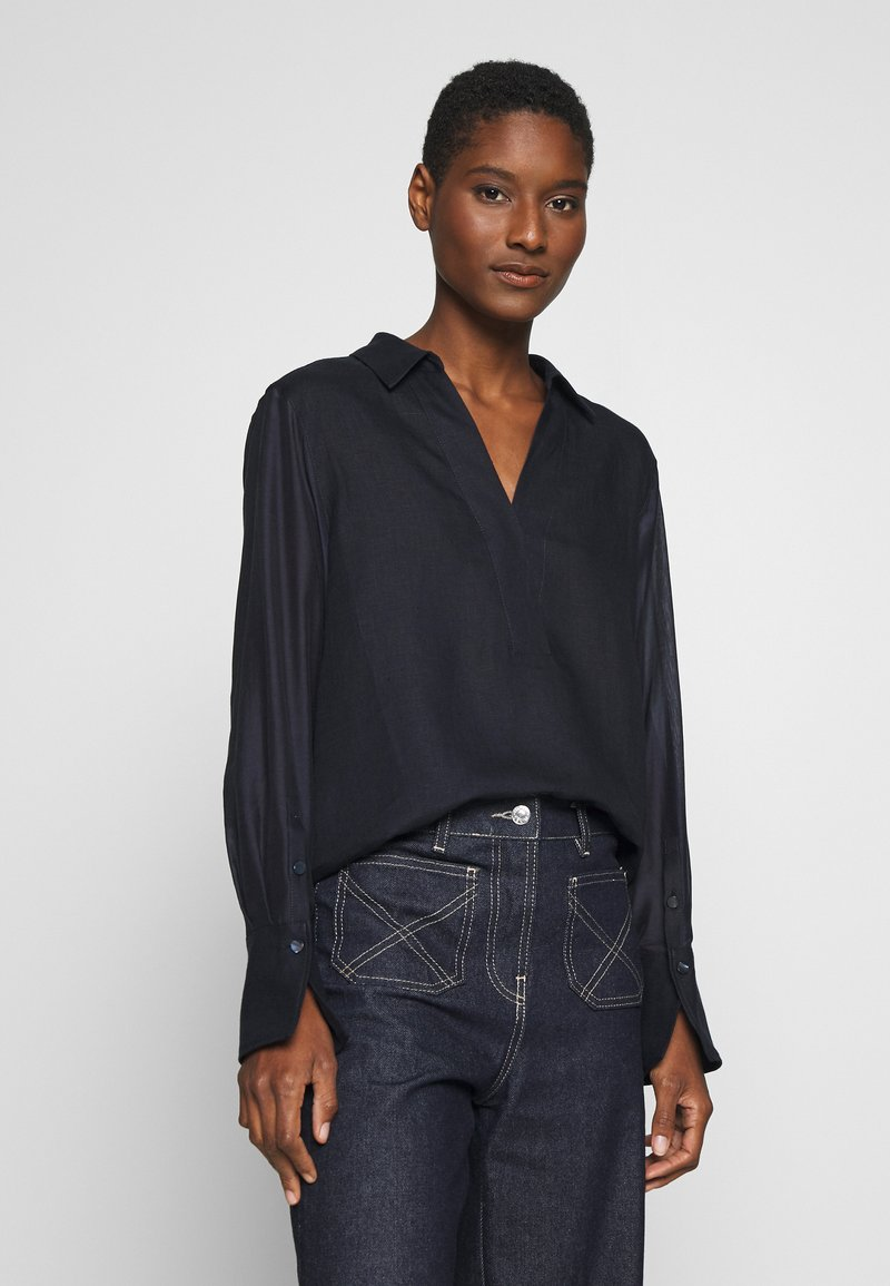 Marc O'Polo PURE - BLOUSE LONG SLEEVE REGULAR FIT A-SHAPE HYBRID STYLE - Bluser - pure navy