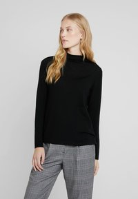 Marc O'Polo PURE - LONG SLEEVE DRAPY NECK - Pullover - pure black - 0