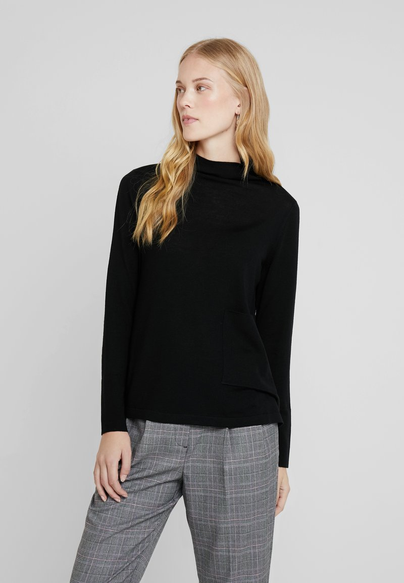 Marc O'Polo PURE - LONG SLEEVE DRAPY NECK - Pullover - pure black
