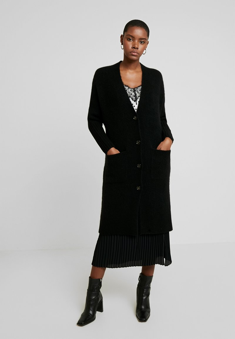 Marc O'Polo PURE - CARDIGAN STRAIGHT FIT OVER KNEE - Cardigan - pure black