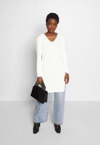 Marc O'Polo PURE - LONG DRESS, ZIPPER DETAILS, HIGH SIDE SLITS - Jumper - natural white - 1