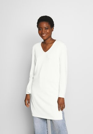LONG DRESS, ZIPPER DETAILS, HIGH SIDE SLITS - Pullover - natural white