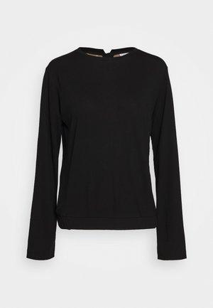 CREW NECK ZIPPER AND ASYMETRICAL HEMLINE - Top sdlouhým rukávem - pure black