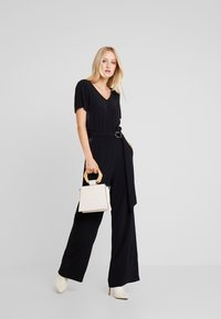 Marc O'Polo PURE - OVERALL SHORT SLEEVE WIDE LEG - Jumpsuit - pure black - 1