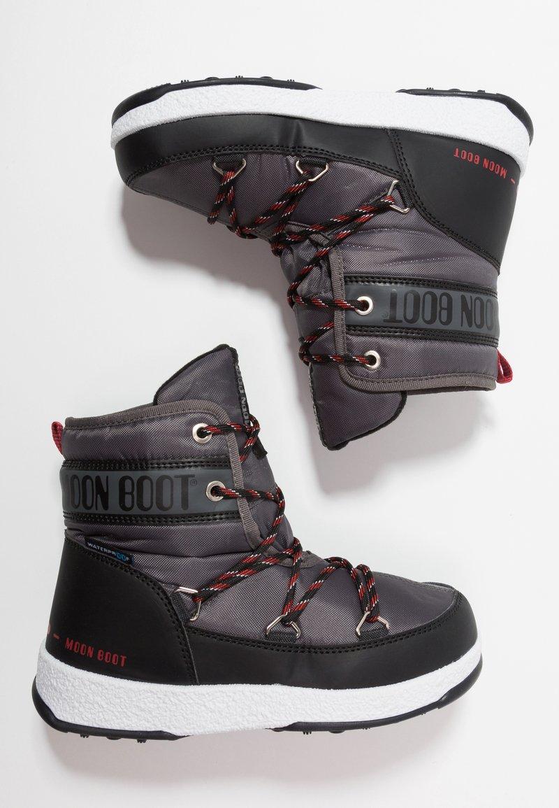 Moon Boot - BOY MID WP - Snörstövletter - black/castlerock