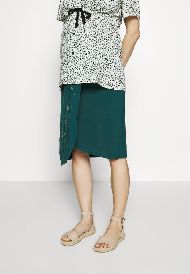 TEMPLE TOWERS - Pencil skirt - dark green