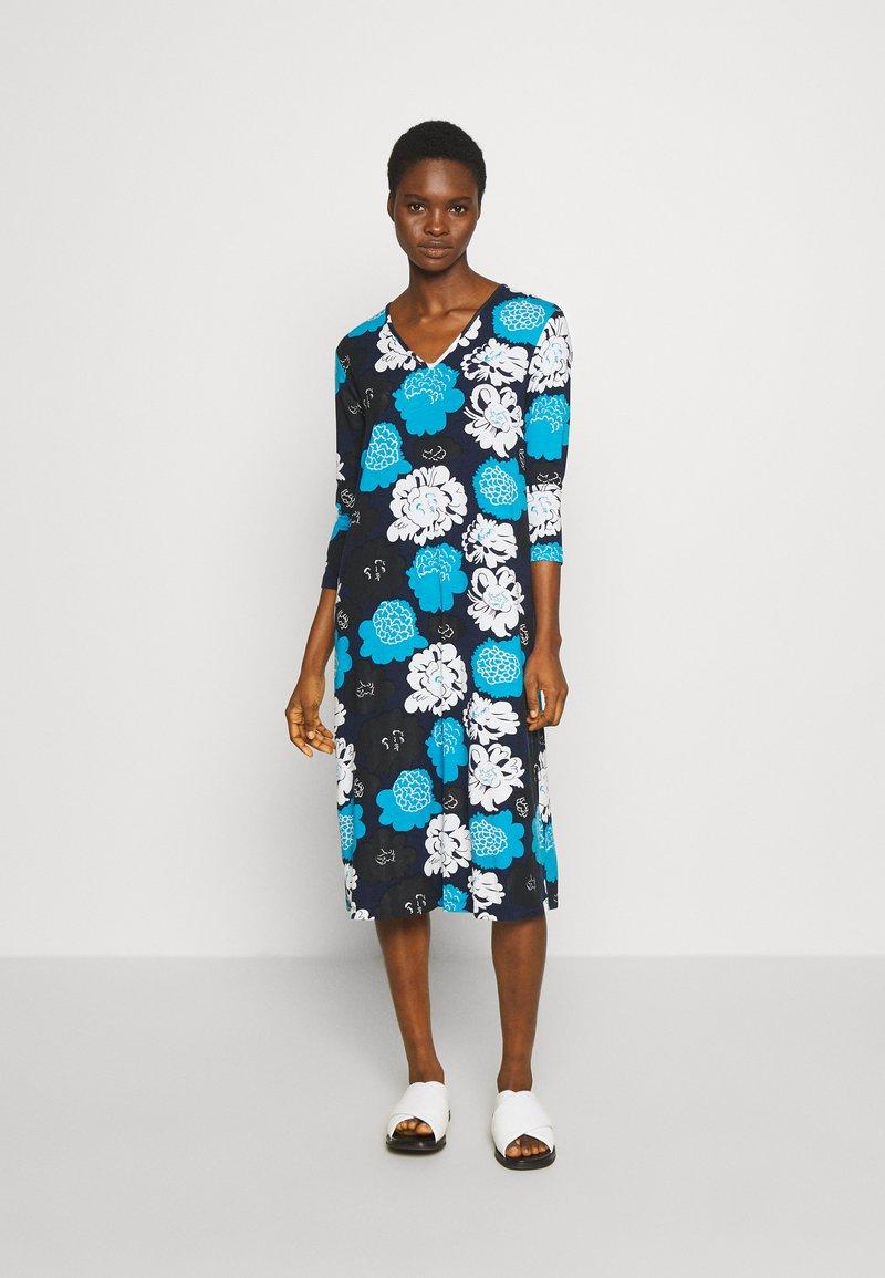 Marimekko - ILTAMA PIENI PIONI DRESS - Jerseyklänning - dark blue/black/vivid blue