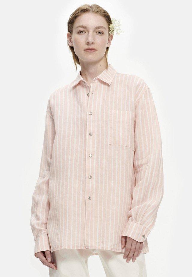 JOKAPOIKA - Button-down blouse - peach, off-white