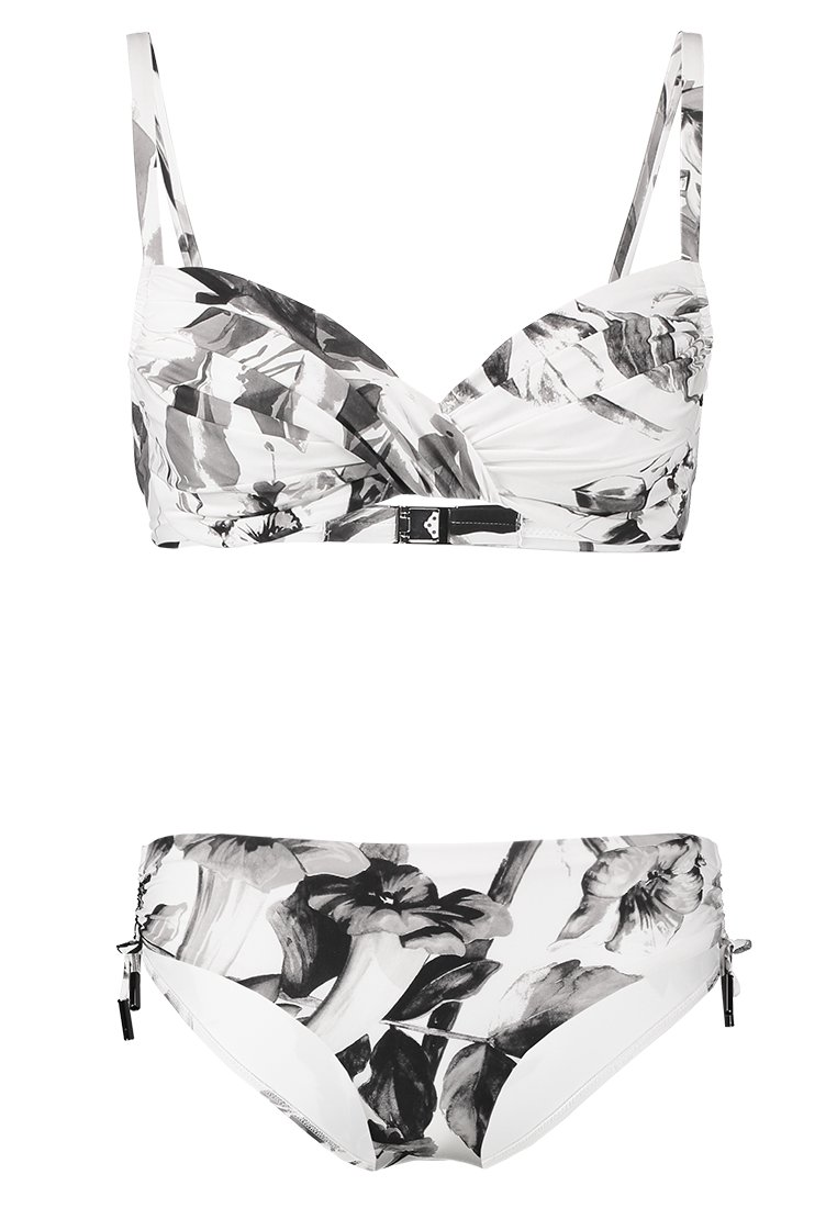 Maryan Mehlhorn - NIGHT GARDEN SET - Bikini top - white/greyscale