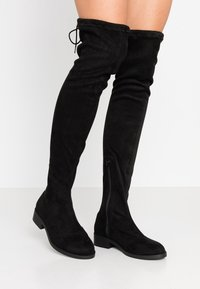 Miss Selfridge Wide Fit - WIDE FIT OLIVIA OVER THE KNEE BOOT - Over-the-knee boots - black - 0