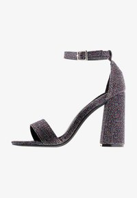 Miss Selfridge Wide Fit - WIDE FIT STEPH BLOCK HEEL BARELY THERE - Sandales à talons hauts - metallic grey - 1