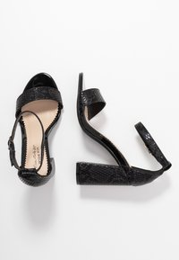 Miss Selfridge Wide Fit - WIDE FIT STEPH BLOCK HEEL BARELY THERE - High heeled sandals - black - 3