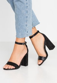 Miss Selfridge Wide Fit - WIDE FIT STEPH BLOCK HEEL BARELY THERE - High heeled sandals - black - 0
