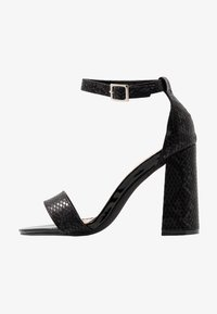Miss Selfridge Wide Fit - WIDE FIT STEPH BLOCK HEEL BARELY THERE - High heeled sandals - black - 1